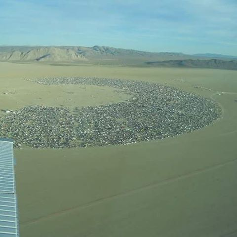 Lisa Coltman Flying Over Burning Man