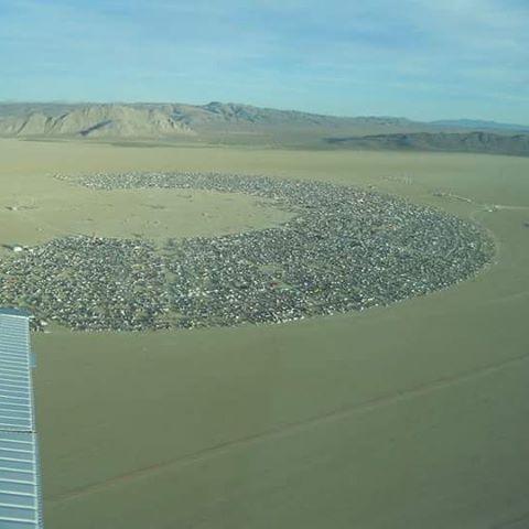 Lisa Coltman Flying Over Burning Man